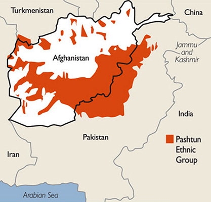 Who We Are -  Map of Pasthun Areas in Pakistan and Afghanistan